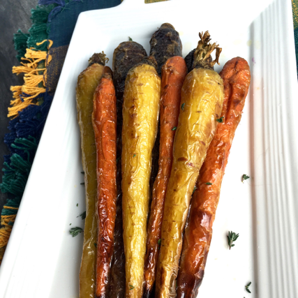 Super Easy Tri-Color Roasted Carrots