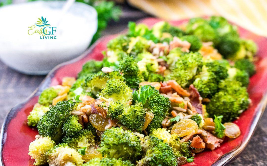 Roasted Broccoli Raisin Salad with Yogurt Dressing